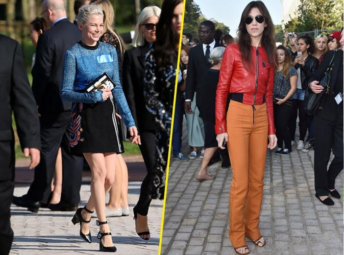 Michelle Williams et Charlotte Gainsbourg au défilé Louis Vuitton le 1er octobre 2014