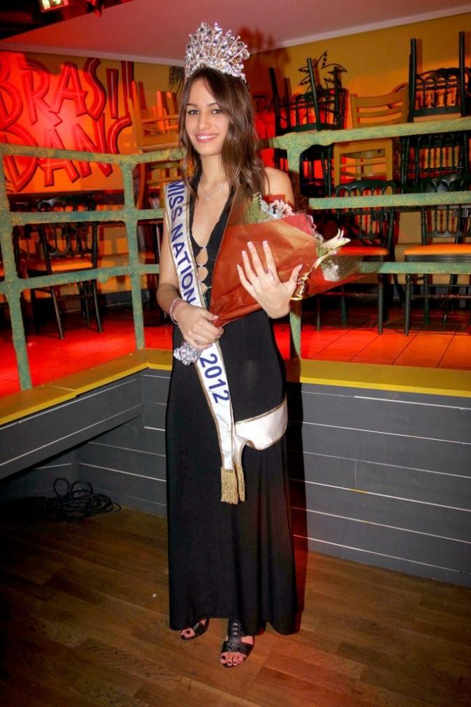 Alicia Santos, Miss Nationale 2012, lors de son élection à Paris, le 18 décembre 2011.