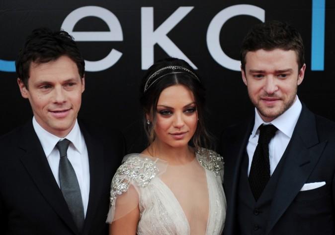 Will Gluck, Mila Kunis et Justin Timberlake lors de la première du film Friends With Benefits à Moscou, le 26 juillet 2011.