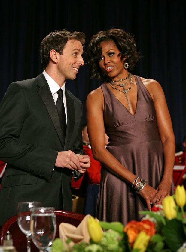 Michelle Obama en compagnie de l'humouriste Seth Meyers