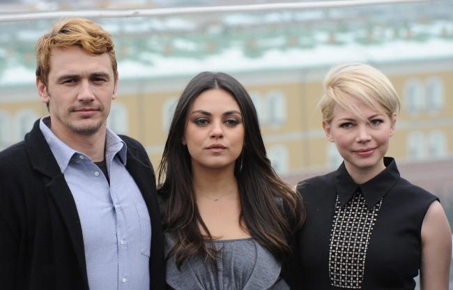 Mila Kunis, James Franco et Michelle Williams le 27 février 2013 à Moscou