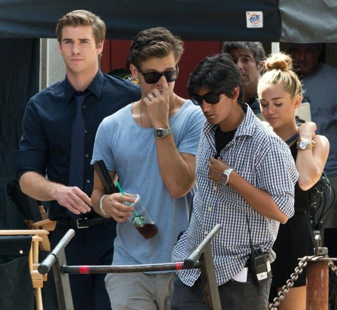 Miley Cyrus sur le tournage du film de Liam Hemsworth à Philadelphie le 31 juillet 2012