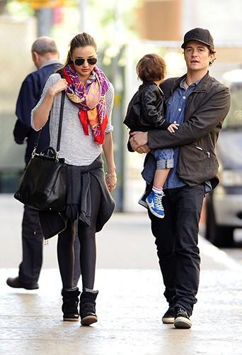 Miranda Kerr, Orlando Bloom et Flynn à New-York le 23 septembre 2013