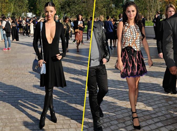 Miranda Kerr et Selena Gomez au défilé Louis Vuitton le 1er octobre 2014