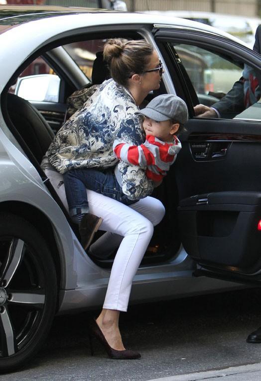 Miranda Kerr et Flynn à New-York le 25 septembre 2013