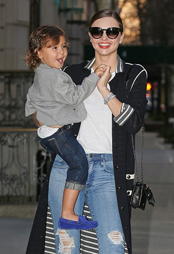 Miranda Kerr et Flynn Bloom à New York le 19 avril 2014