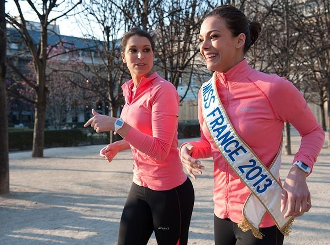 Marine Lorphelin et Laury Thilleman le 2 avril 2013 pendant leur entraînement