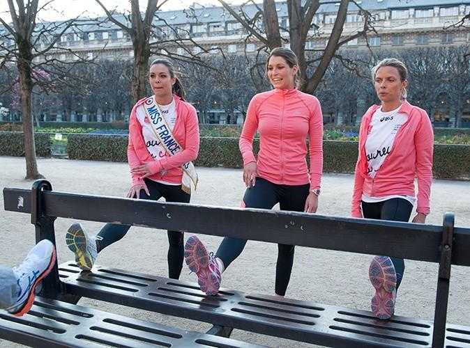 Marine Lorphelin, Laury Thilleman et Sylvie Tellier le 2 avril 2013 pendant leur entraînement