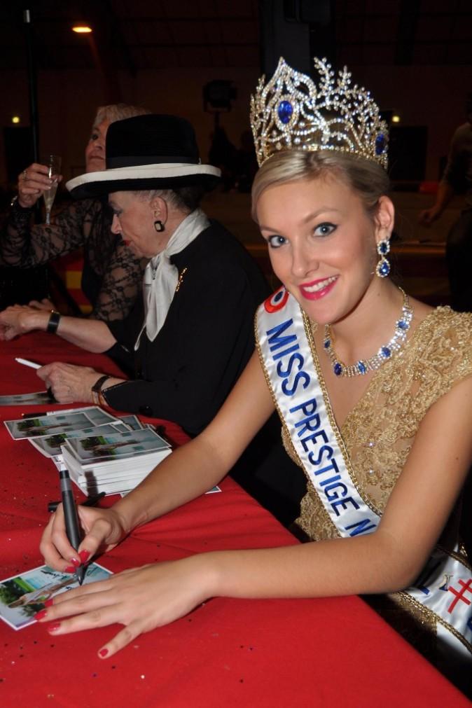 Miss Prestige National 2012, Christelle Roca, lors d'un spectacle espagnol à Saillagouse, le 8 janvier 2012.