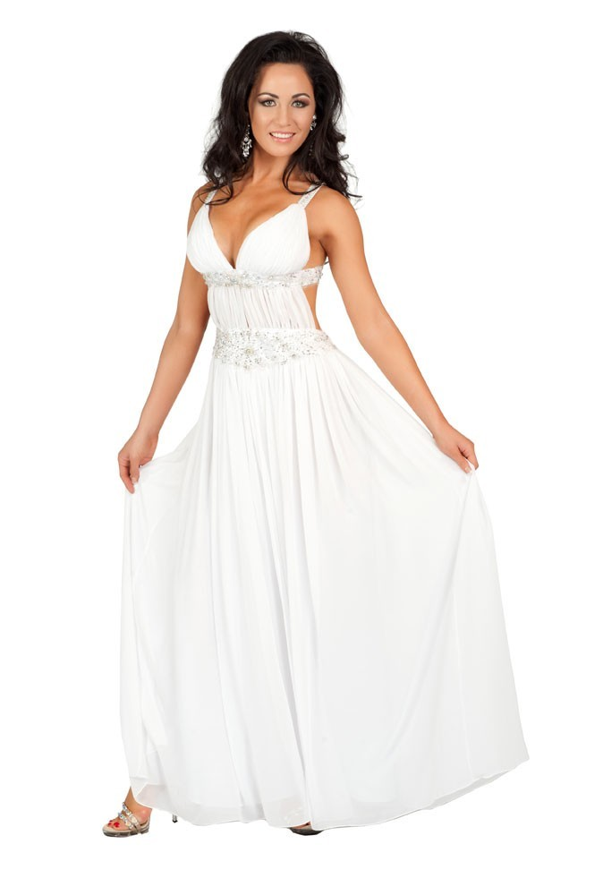 Miss Nouvelle-Zélande en robe de soirée