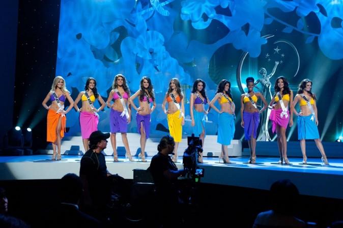 Laury Thilleman lors du concours Miss Univers 2011 à Sao Paulo, le 12 septembre 2011.