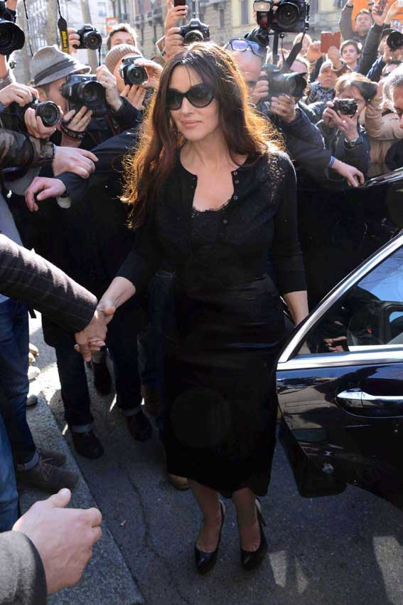 Monica Bellucci au défilé Dolce & Gabbana organisé à Milan le 23 février 2014