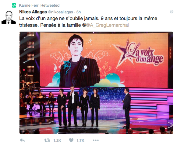 Message de Nikos Aliagas Retweeté par Karine Ferri