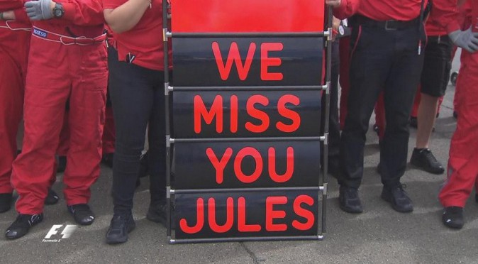 Hommage à Jules Bianchi au Grand Prix de Hongrie le 26 juillet 2015