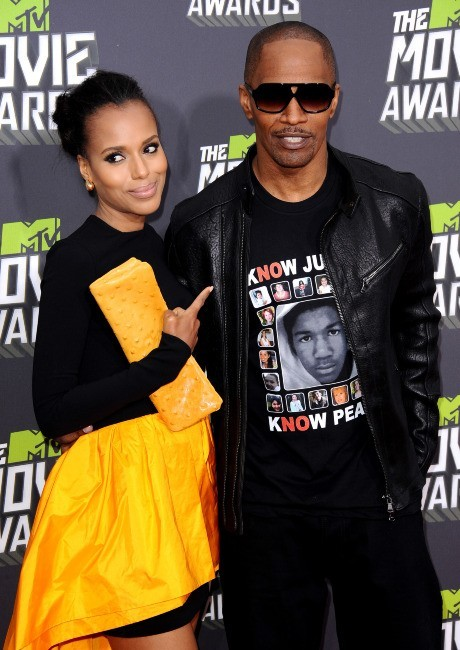 Kerry Washington et Jamie Foxx lors des MTV Movie Awards 2013 à Los Angeles, le 14 avril 2013.