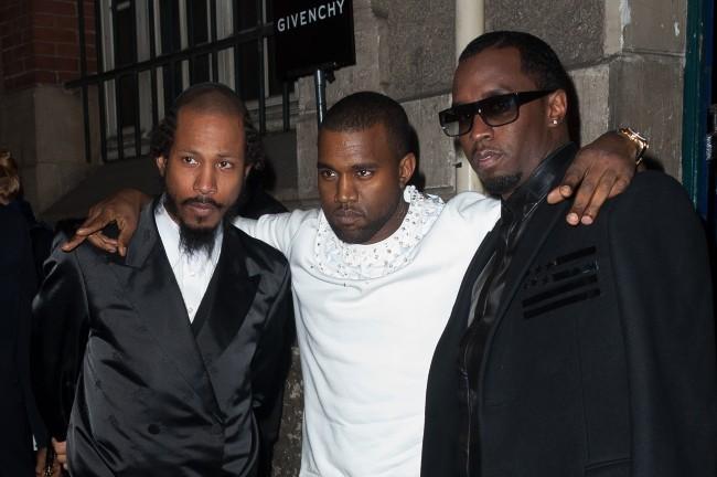 Shyne Po, Kanye West et P.Diddy se rendant au défilé Givenchy à Paris, le 4 mars 2012.