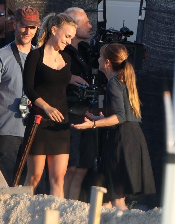 Natalie Portman en tournage à Austin le 3 octobre 2012