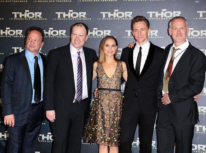 Louis D'Esposito, Kevin Feige, Natalie Portman, Tom Hiddleston et Alan Taylor à Paris le 23 octobre 2013