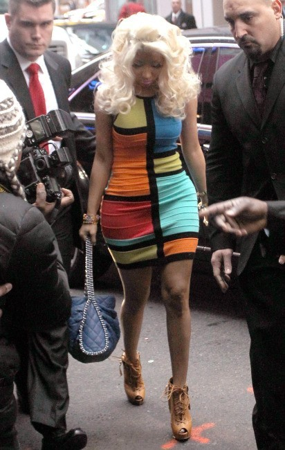 Nicki Minaj arrivant dans les studios de l'émission Good Morning America à New York, le 15 février 2012.