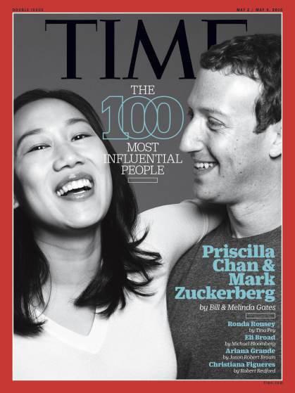 """Photos : Priscilla Chan et Mark Zuckerberg parmi les personnalités les plus influentes du """"Time"""""""