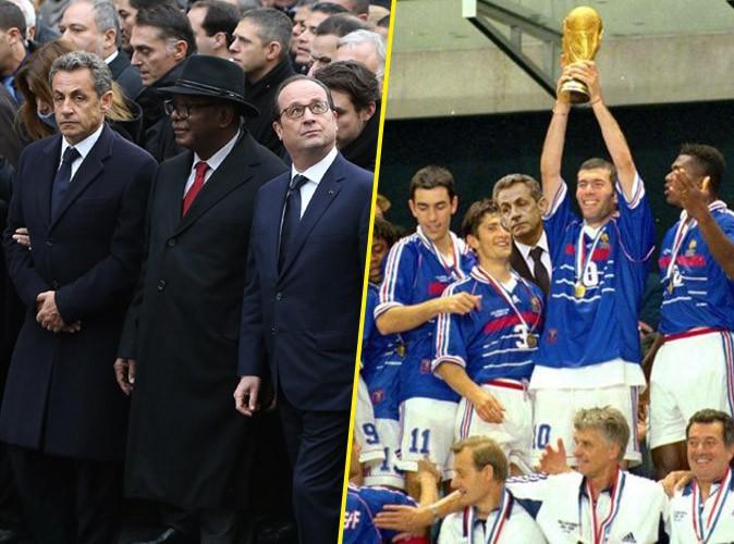Photos : Nicolas Sarkozy : il s'incruste au 1er rang de la marche républicaine, le web s'en amuse !