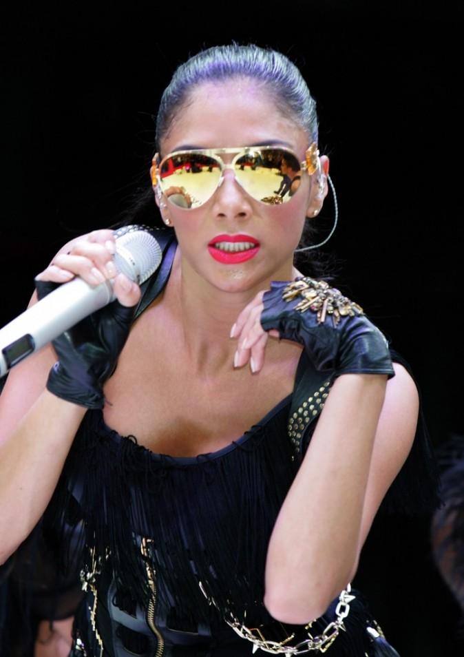 Nicole Scherzinger lors du concert inaugural du centre commercial Westfield Stratford City à Londres, le 13 septembre 2011.