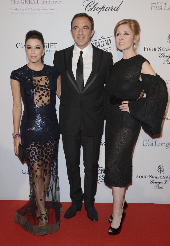 Eva Longoria, Nikos Aliagas et Lara Fabian lors du Global Gift Gala à Paris, le 13 mai 2013.