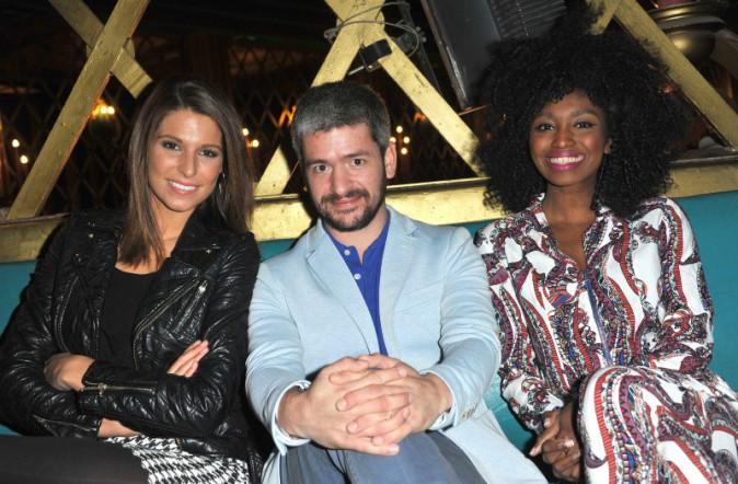 Laury Thilleman, Grégoire et Inna Modja lors de la première du musical D.I.S.C.O. à Paris, le 10 octobre 2013.