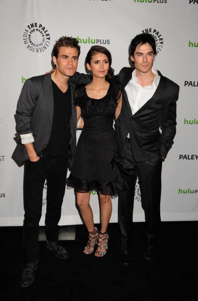 Paul Wesley, Nina Dobrev et Ian Somerhalder à Beverly Hills, le 10 mars 2012.
