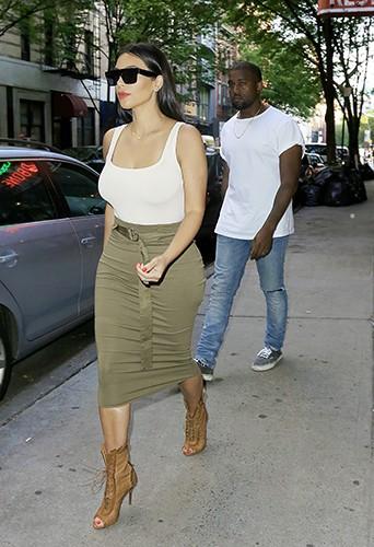 Kim Kardashian et Kanye West à New York le 15 juin 2014