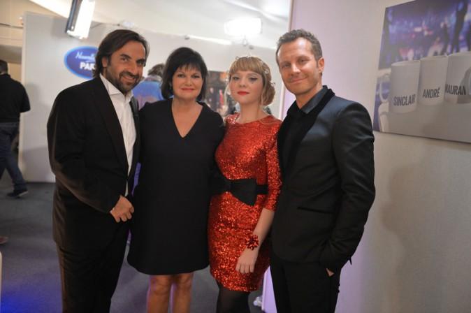 André Manoukian, Maurane, Luce et Sinclair pendant l'enregistrement de la Nouvelle Star spécial Noël à Issy les Moulineaux le 16 décembre 2013