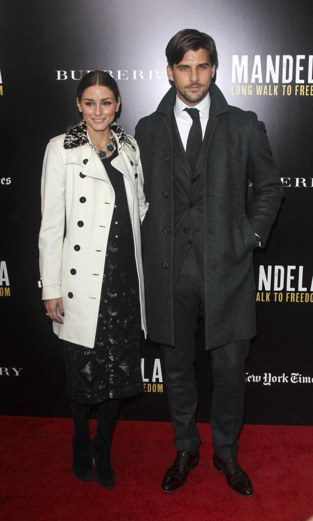 """Olivia Palermo et Johannes Huebl lors de l'avant-première du film """"Mandela : Long Walk To Freedom"""" à New York, le 25 novembre 2013."""