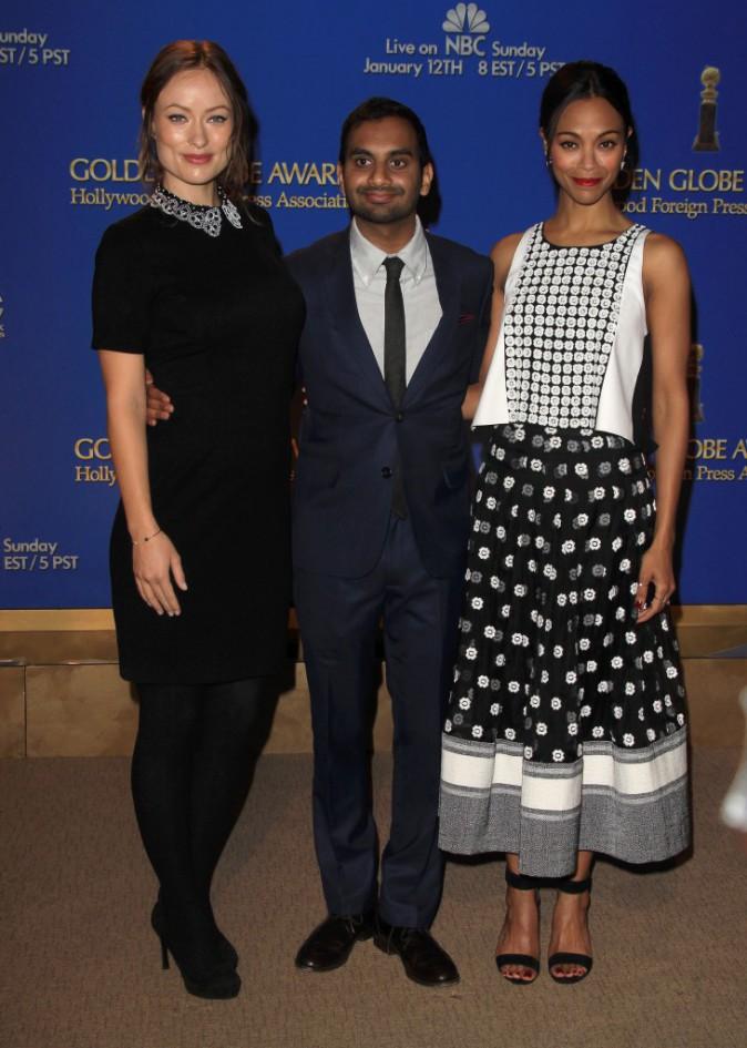 Olivia Wilde, Aziz Ansari et Zoe Saldana ont annoncé la liste des nommés aux Golden Globes 2014, le 12 décembre 2013 à Beverly Hills.