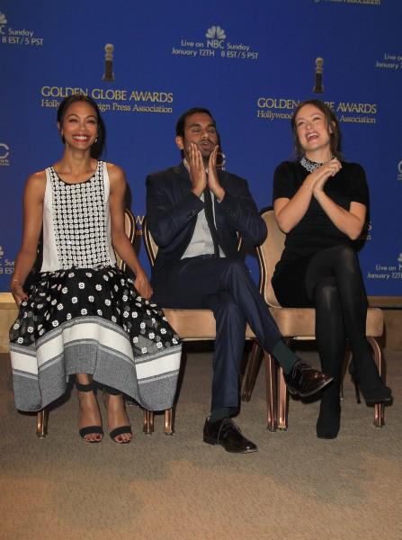 Zoe Saldana, Aziz Ansari et Olivia Wilde ont annoncé la liste des nommés aux Golden Globes 2014, le 12 décembre 2013 à Beverly Hills.