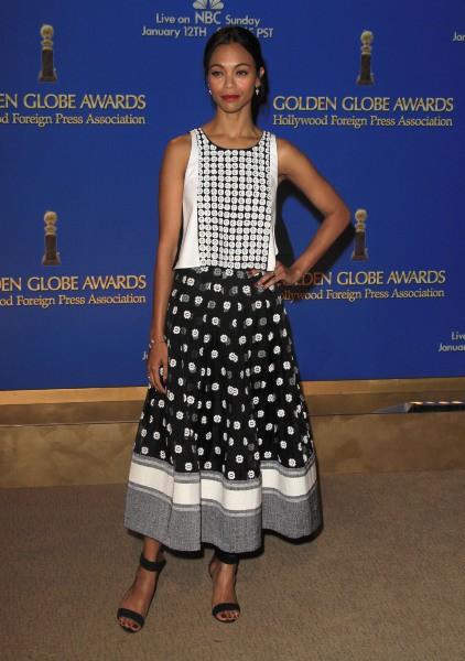 Zoe Saldana lors de l'annonce des nommés aux Golden Globes 2014, le 12 décembre 2013 à Beverly Hills.