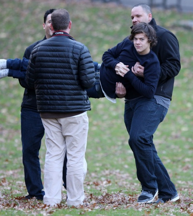 One Direction en plein tournage à New-York le 5 décembre 2012