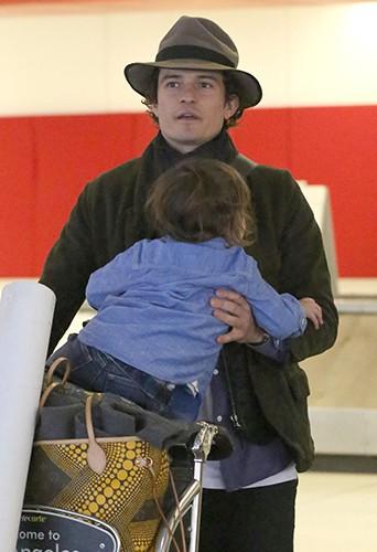 Orlando Bloom et Flynn à Los Angeles le 9 janvier 2014