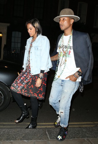 Pharrell Williams et sa femme Helen Lasichanh à Londres le 1er juillet 2014