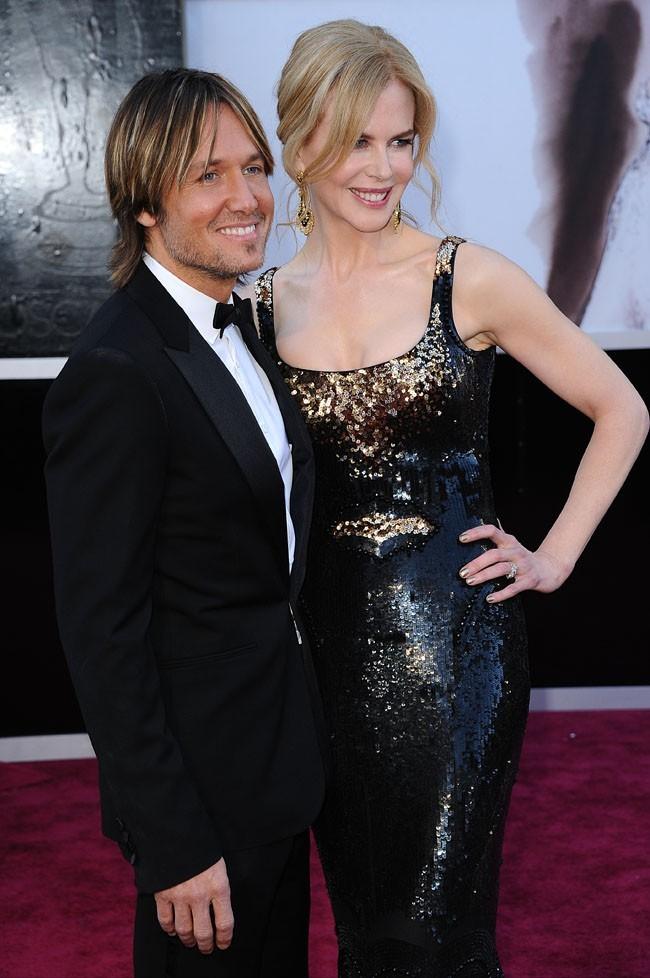 Keith Urban et Nicole Kidman sur le tapis rouge des Oscars à Los Angeles le 24 février 2013