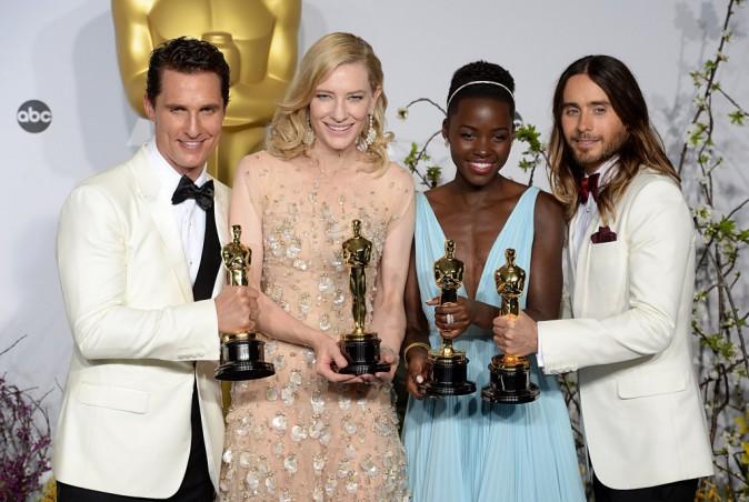 Matthew McConaughey, Cate Blanchett, Lupita Nyong'o et Jared Leto, grands gagnants de la 86e cérémonie des Oscars à Hollywood, le 2 mars 2014.