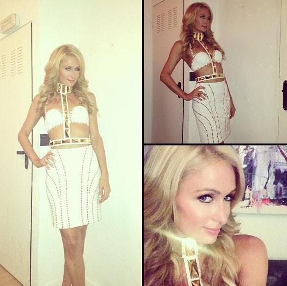 Paris Hilton à Ibiza, avant de rejoindre le club de l'Amnesia, le 31 juillet 2013