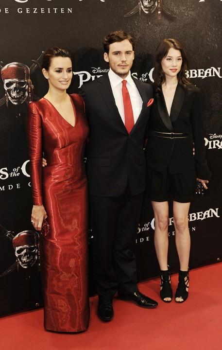 Penelope Cruz, Sam Claflin et Astrid Berges-Frisbey lors de la promo de Pirates des Caraïbes à Munich, le 16 mai 2011.