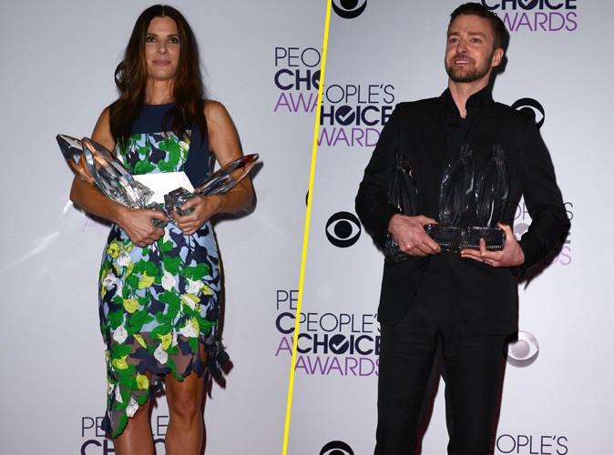 Sandra Bullock et Justin Timberlake à la cérémonie des People's Choice Awards organisée à Los Angeles, le 8 janvier 2014