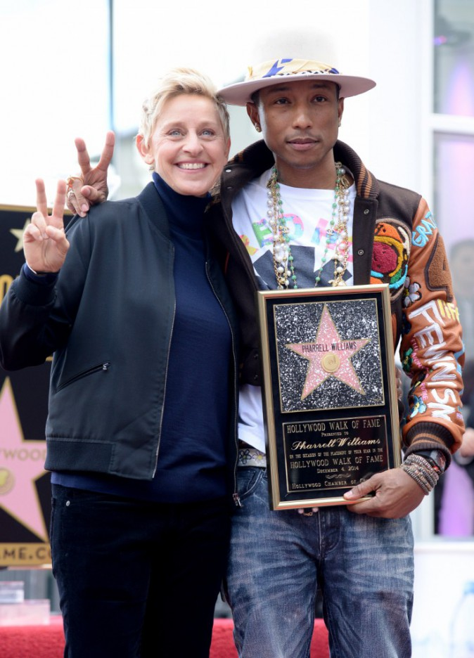 Pharrell Williams et Ellen DeGeneres le 4 décembre 2014