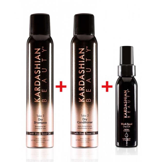 Le pack Kardashian Hair Beauty : un shampoing, un après-shampoing et une huile de nigelle. (77,70€)