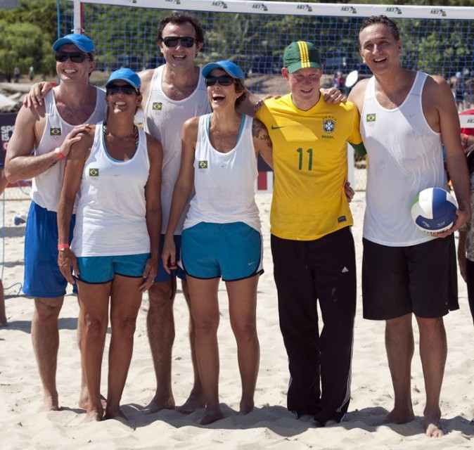 Avec son équipe de beach volley !
