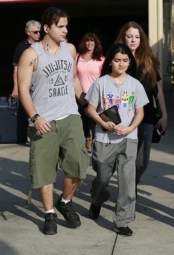 Prince Jackson, Nikita Bess et Blanket Jackson à Los Angeles le 22 février 2014