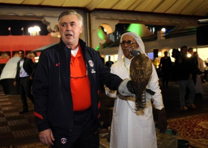 Carlo Ancelotti dans le village VIP de l'Open de tennis de Doha, le 2 janvier 2012.