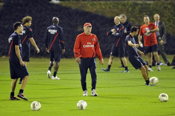 Entrainement de l'équipe du PSG avec Carlo Ancelotti à Doha au Qatar, le 2 janvier 2012.