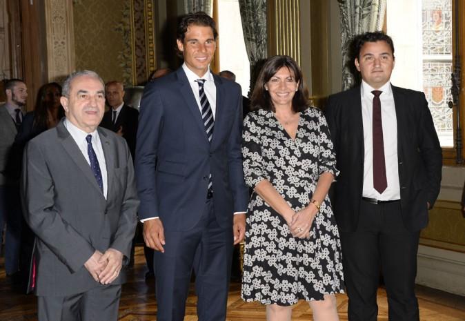 Rafael Nadal et Anne Hidalgo à la mairie de Paris le 21 mai 2015